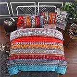 DXSX 3 stücke Böhmischen Marokkanischen Mikrofaser Bettbezug Set Boho Indischen Exotischen Ethnischen Stil Mandala Bettwäsche Set (Stil 03, 135 x 200 cm)