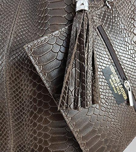 Shopper In Vera Pelle Da Donna Con Borsa Per Gioielli In Vari Colori Borsa A Tracolla Borsa A Mano Borsa Look Metallico Serpente Marrone Scuro