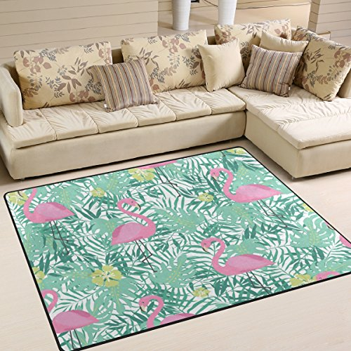 Palm Blätter Teppich (COOSUN Pink Flamingo und Palm Blätter Bereich Teppich Teppich Rutschfeste Fußmatte Fußmatten für Wohnzimmer Schlafzimmer 160x 121,9cm, Textil, Multi, 80 x 58 inch)