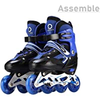 Assemble Sparkle Adjustable Inline Skates with Front Light up Wheels Beginner Skates Fun Illuminating Roller Skates for All Boys and Girls Size (38-42)