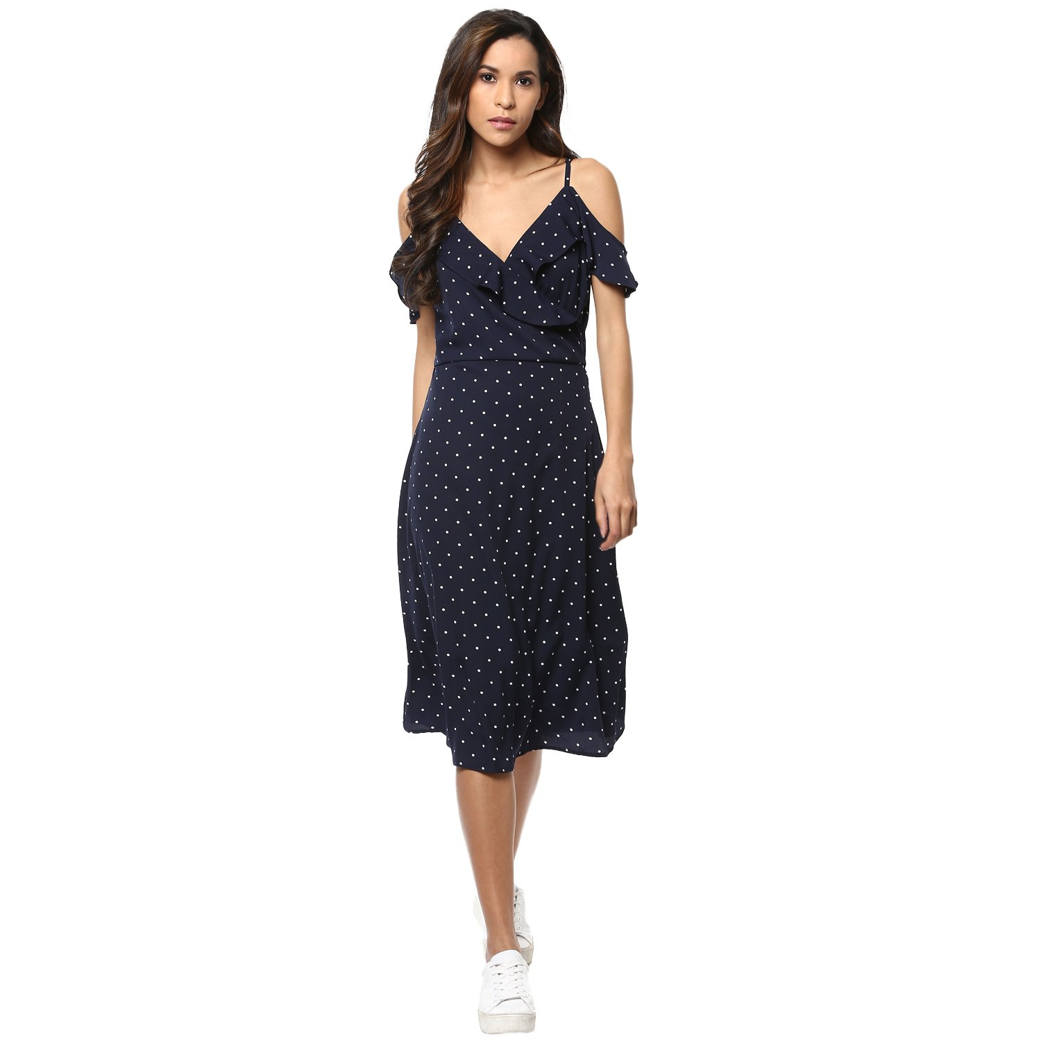 Harpa Strap Shoulder Dress (GR5164-NAVY)