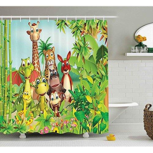 r-Dusche CUrnain von, niedlichen Tiere Giraffe Tiger Schlange Dinosaurier Hippo AFFE im Dschungel Kinder Baby Thema, Stoff Badezimmer Dekor Set mit Haken, grün ()