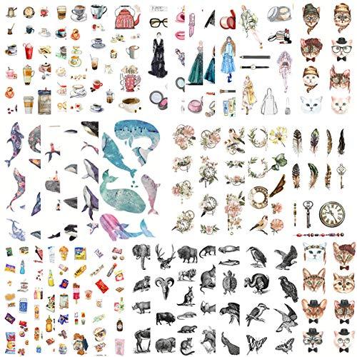 DzdzCrafts 42 Blatt 500 + Aquarell-Dekorative Aufkleber-Set für Karten, Sammelalben, Tagebuch, Planer, Wasserflasche, Handyhülle, Laptop (Fairy World) Vintage Time (500-blatt-notebook)