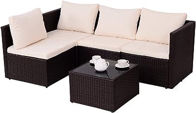 COSTWAY Poly Rattan Rattanmöbel Gartenmöbel Lounge Set Gartenlounge Gartengarnitur Sitzgruppe Gartenset Sitzgarnitur Sofa Braun