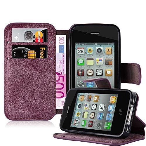 Apple iPhone 4 / 4S Hülle in SCHWARZ von Cadorabo - Handy-Hülle im Retro Design mit Standfunktion und Karten-Fach Case Cover Schutz-hülle Etui Tasche Book Klapp Style in MATT-SCHWARZ MATT-ROT