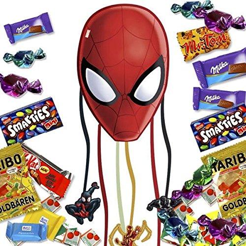 Pinata Spiderman als Zugpinata im Set mit süßer Füllung für Kinder-Mottopartys (Teilnehmer Bändchen)