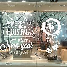 FDXSHOW Sticker Fai Da te Rimovibile Buon Natale Renna Snowflake 3D Arte Murale in Vinile Impermeabile Adesivi Murali Decorazione Per vetro Finestre Delle Camere