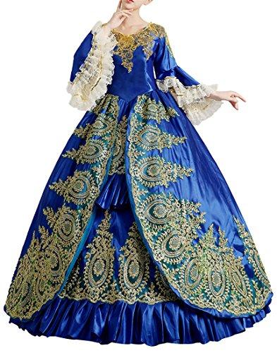 Nuoqi®Damen Satin Gothic Victorian Prinzessin Kleid Halloween Cosplay Kostüm Blau (40, (Kostüme Prinzessin Mittelalterliche Blau)