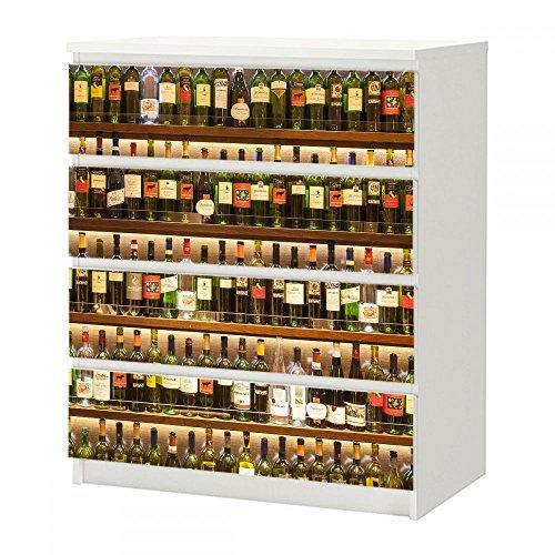 Aufkleber für Kommode mit 4 Schubfächern IKEA MALM Spirituosenregal aus Holz