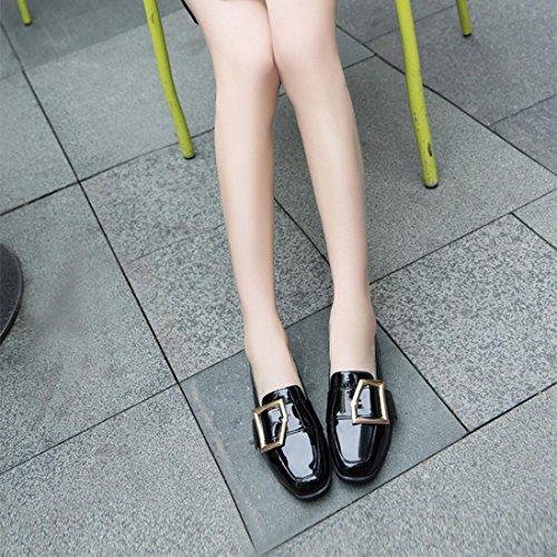 Mocassins ballerines Femmes Vintage Cuir Verni, QinMM Boutons Boucle Brevet Cuir Style Britannique Rétro Femelle Chaussures Noir