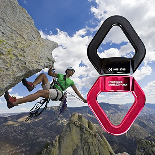 Blu-Rosso JIAMEIYI Dispositivo di Rotazione Lega di Alluminio di Sicurezza Esterna allaria Aperta Rotazione a 360 /° Rotante Swing Spinner Rope Girevole 30KN Rotore di arrampicata con 2 Moschettoni