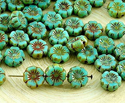 NEW SHAPE 16pcs Small Rustic Picasso Turquoise Blue Green Table Cut Window Czech Glass Flat Carved Hawaiian Flower Beads Coin 7mm
