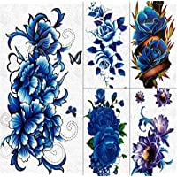 yyyDL Fake Large Waterproof Blue Flower Rose Peony Temporary Tattoos For Women GIrls Sticker Body Art Arm Tattoo Paper 3D Flora Tatoos 19 * 9cm 5pcs