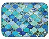 YJ Bear Stylish Bohemian Flower Print Rectangle Doormat Non Slip Floor Mat Coral Fleece Indoor Outdoor Area Rug Kitchen Floor Runner Home Decor Carpet 16