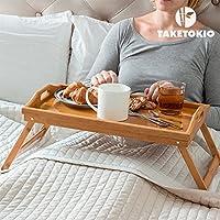Bandeja cama plegable con patas bambú natural 50 x 30 x 22 cm .