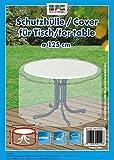 Reißfeste Schutzhülle für einen Gartentisch von MFG, transparent, rund 125 cm, in praktischer Tragetasche