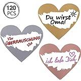 Kesote 120 Etichette Adesive Cuore Gratta e Vinci Rettangole Etichette di 3 Colori da Grattare Etichette per Matrimonio, San