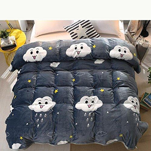 Xuan - worth having Graue Wolke Muster Bett Decke Quilt Flanell Verdickung halten warme Student Winter Blätter ( größe : 230*250cm )