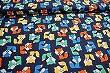 Stoff / Kinder/ Meterware / ab 25cm / beste Baumwoll-Qualität / Baumwolle Füchse bunt auf dunkelblau