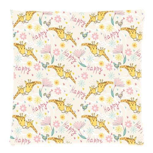 Custom Fashion Happy Dog pattern with Paw Print and Bone custodia cover cuscino quadrato con (Patterns Bone)