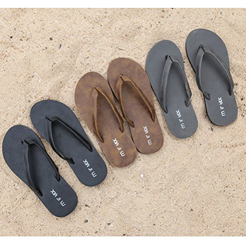 Zhhlaixing Cool Men's Flat Slippers Summer Beach Casual Flip Flops Shoes 11002 Black