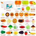 SONi 40 PCS Cutting Toys Play Food Fruits Vegetable Kitchen Play Educational Learning Toys Pretend Play For Boys Girls Kid With Storage Case