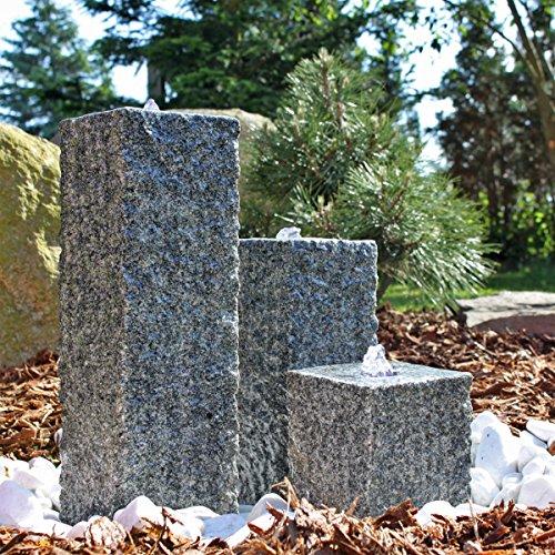 CLGarden Granit Springbrunnen SB2-3 teiliger Säulenbrunnen Steinbrunnen Wasserspiel Gartenbrunnen
