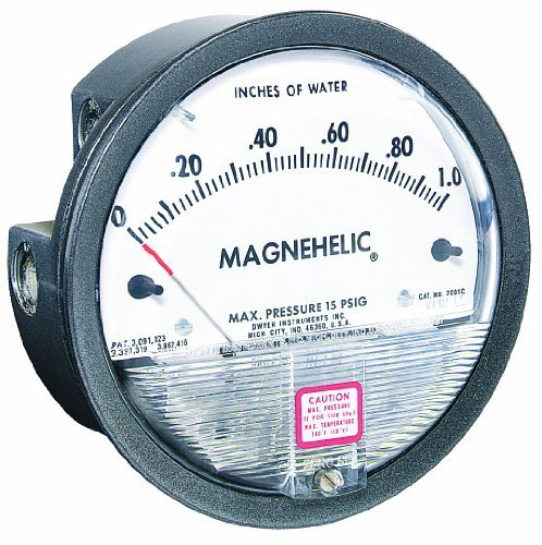 Dwyer Magnehelic Series 2000 Differential Pressure Gauge, Range 0-1.0WC & 0-250 Pa by Dwyer -