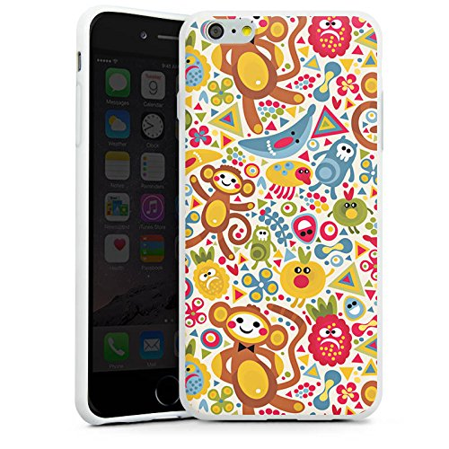 Apple iPhone X Silikon Hülle Case Schutzhülle Kids Kinder Affen Silikon Case weiß