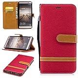 Cover Custodia Huawei Mate 9,Cozy Hut [Carta Fessura] [Flip Stand] [Folio Libro] [Wallet] [Chiusura Magnetica] [Anti-graffio] Custodia Cowboy in pelle e tessuto Cover per Huawei Mate 9 con Funzione di Supporto di Stand - Cowboy rosso