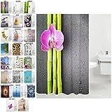Duschvorhang, viele schöne Duschvorhänge zur Auswahl, hochwertige Qualität, inkl. 12 Ringe, wasserdicht, Anti-Schimmel-Effekt (Asia, 180 x 200 cm)