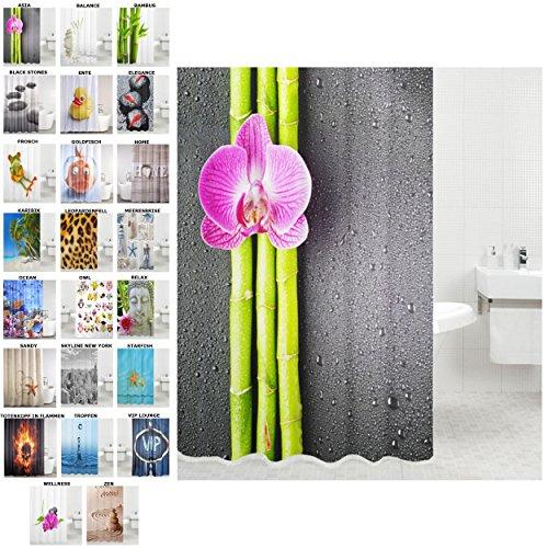 schöne Duschvorhänge zur Auswahl, hochwertige Qualität, inkl. 12 Ringe, wasserdicht, Anti-Schimmel-Effekt (Asia, 180 x 180 cm) (Blume Vorhang Ringe)