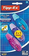 Bic Tipp-Ex Micro Tape Twist correttore a nastro con punta girevole proteggi nastro confezione da 3 correttori