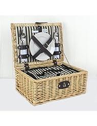 The Baslow Cesta de pícnic con accesorios para 2 personas, con forro a rayas
