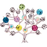 YAZILIND Jewelry Glaring Silver Plated Tree Shape Carve Full Colorful Leaf Crystal Brooches and Pins for Women