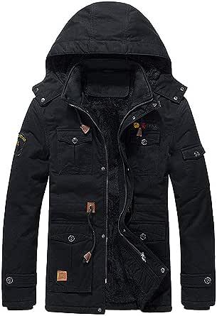 R RUNVEL Men's Winter Fleece Jacket Warm Cotton Coat Multi Pocket Military Cargo Jacket