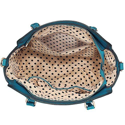 TrendStar Frau Des Faux Leder Handtasche Neu Damen Schulter Taschen Für Leinentrage Entwerfer Stil Berühmtheit Des Faux Leder B - Blau