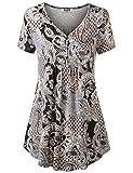 Damen Tunika Bluse Kurzarm Tops Tunika Elegant Abend Dating Sommer Tees Busenshirt Oberteile Top-Shirt XL Braun
