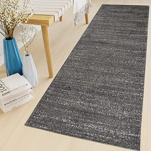 Tapiso Sari Teppich Läufer Meterware Wohnzimmer Schlafzimmer Küche Flur Brücke nach Maß Schwarz Meliert Kurzflor Einfarbig ÖKOTEX 70 x 120 cm -