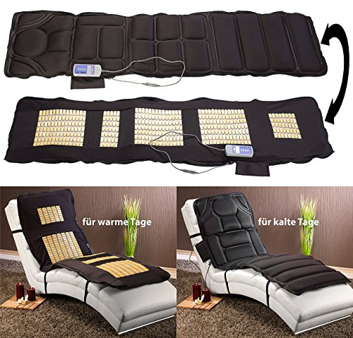 newgen medicals Massagematte: Doppelseitige Ganzkörper-Vibrations-Massageauflage, 6 Programme (Massageliege)