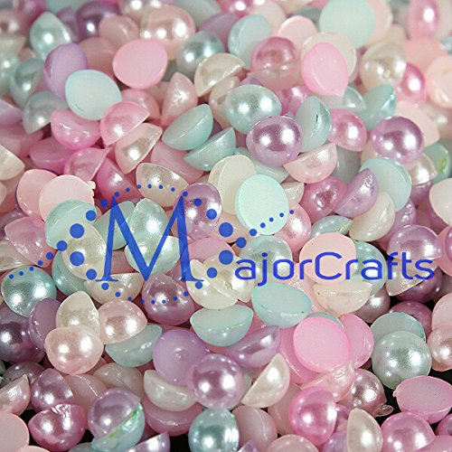 majorcraftsr-1440pcs-4mm-pastel-mixed-colours-flat-back-half-round-resin-pearls
