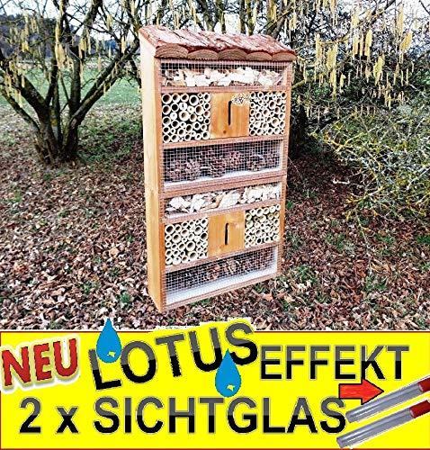 BTV Batovi Insektenhaus Dunkelbraun Teak Look mit Schmetterlingshaus braun insektenhotel, mit Holzrinde-Naturdach, mit Spezialoberflächenbeschichtung Lotus, FDV-Holo-OS