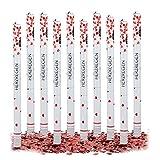 10x Party-Popper 80 cm, 6-8m Effekthöhe, Hochzeitsdeko Konfetti-Shooter, Konfetti-Kanone, Hochzeitsgeschenke (Rote Herzen)