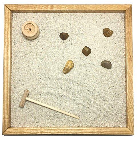 Giardino zen da tavolo 25x25 2cm di legno massello frassino lavorato artigianalmente fatto a mano - prodotto di qualita'