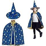 MUCHEN SHOP Zauberer Kostüm Kinder,Halloween Kostüme Zauberer Mantel mit Hut Hexen Mantel Stern Cape Zauberhut für Kleinkinder Jungen Mädchen Cosplay Blau