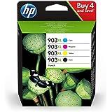 HP 903XL Pack de 4 Cartouches d'Encre Noire, Cyan, Magenta, Jaune grandes capacités Authentiques (3HZ51AE) pour HP OfficeJet