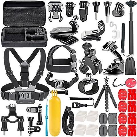 Neewer 58-en-1 Action Caméra Kit d'Accessoires pour GoPro Hero 4/5 Session, Hero 1/2/3/3 +/4/5, SJ4000/5000, Nikon et Sony Sport DV Natation Aviron Escalade Vélo Camping et Autres