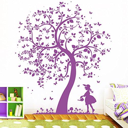 """Wandtattoo Loft """"Baum Mädchen mit Gießkanne"""" - Wandtattoo / 49 Farben / 4 Größen / brillantblau / 170 x 200 cm"""