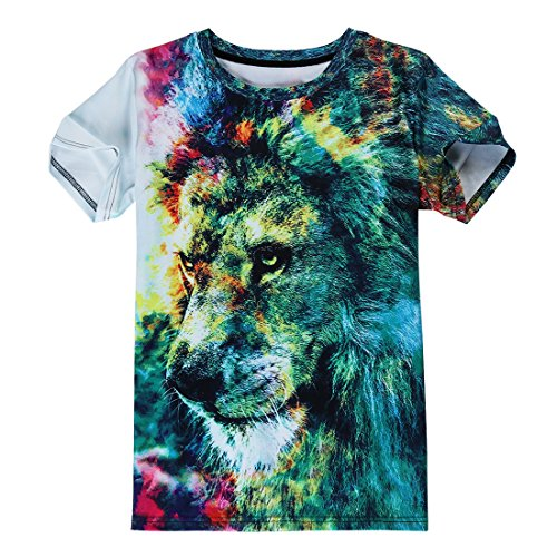 Idgreatim Unisex Casual 3D Print Tier Kurzarm T-Shirt Grafik T-Shirts Cat Water