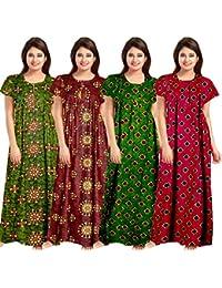 Lorina Women's Cotton Nighty (Multicolour, Free Size) -Combo of 4 Pieces